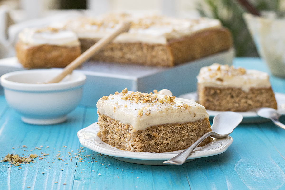 Greek walnut sheet cake (Karidopita) with vanilla custard cream 6