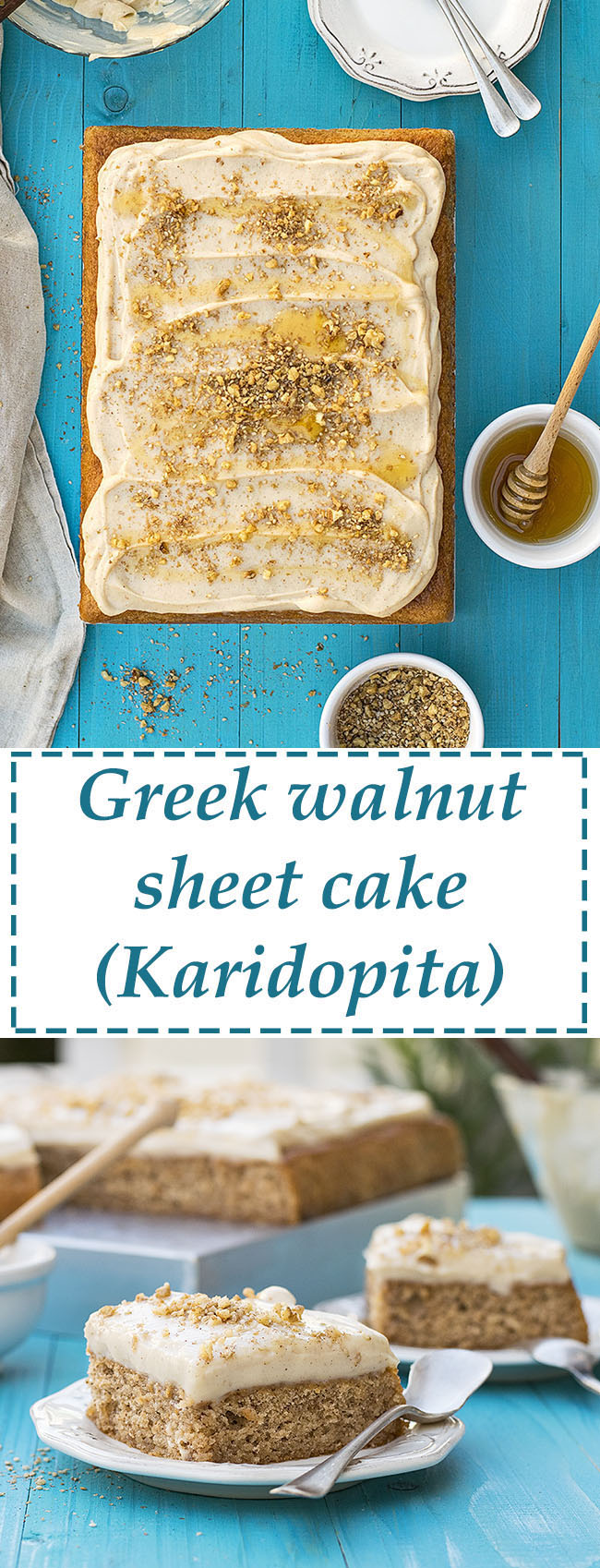 Greek walnut sheet cake (Karidopita) with vanilla custard cream 7