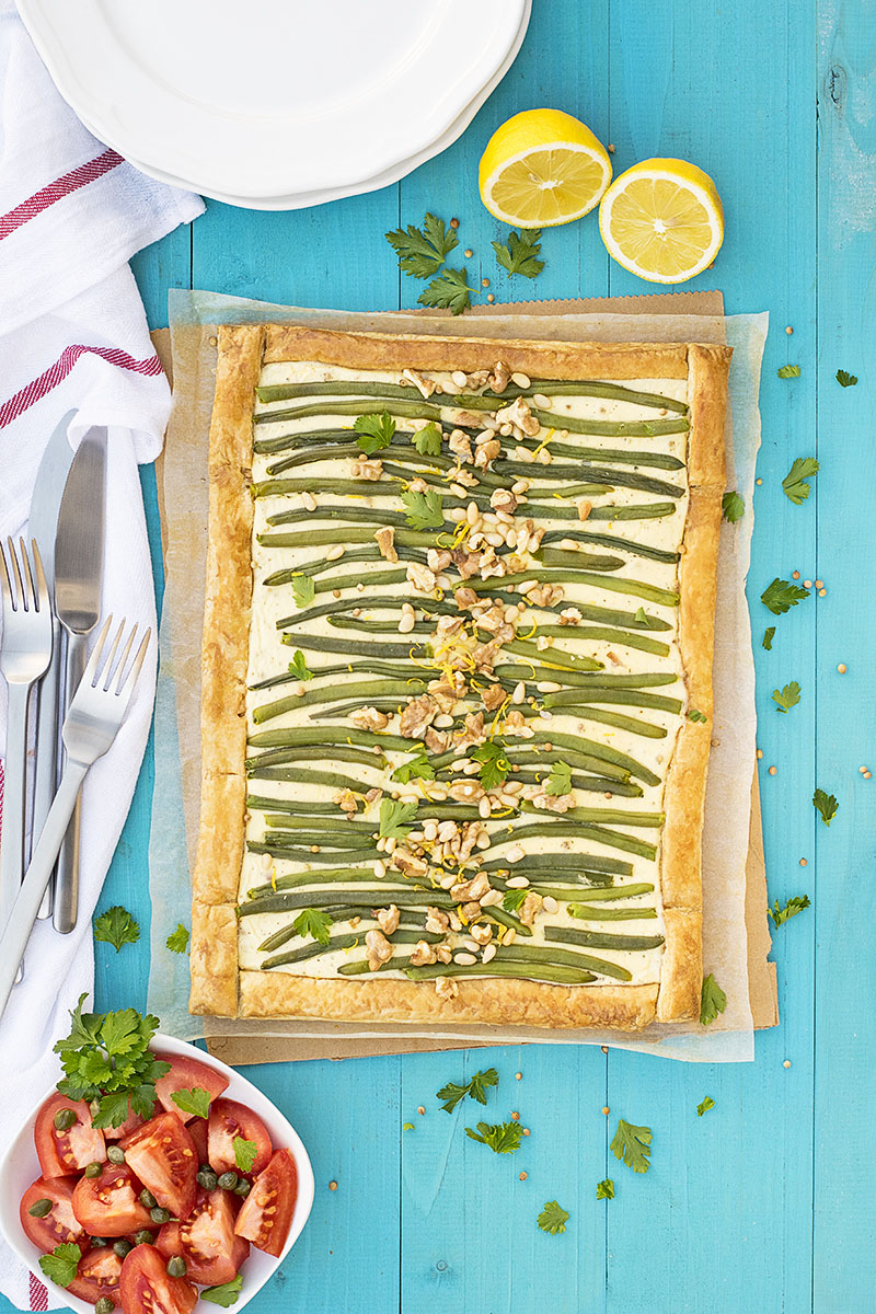 Green bean and feta mediterranean tart with puff pastry 2
