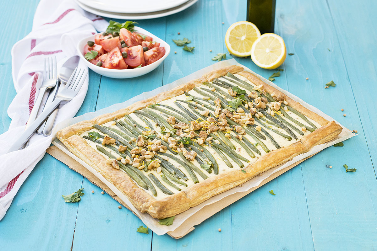 Green bean and feta mediterranean tart with puff pastry 4