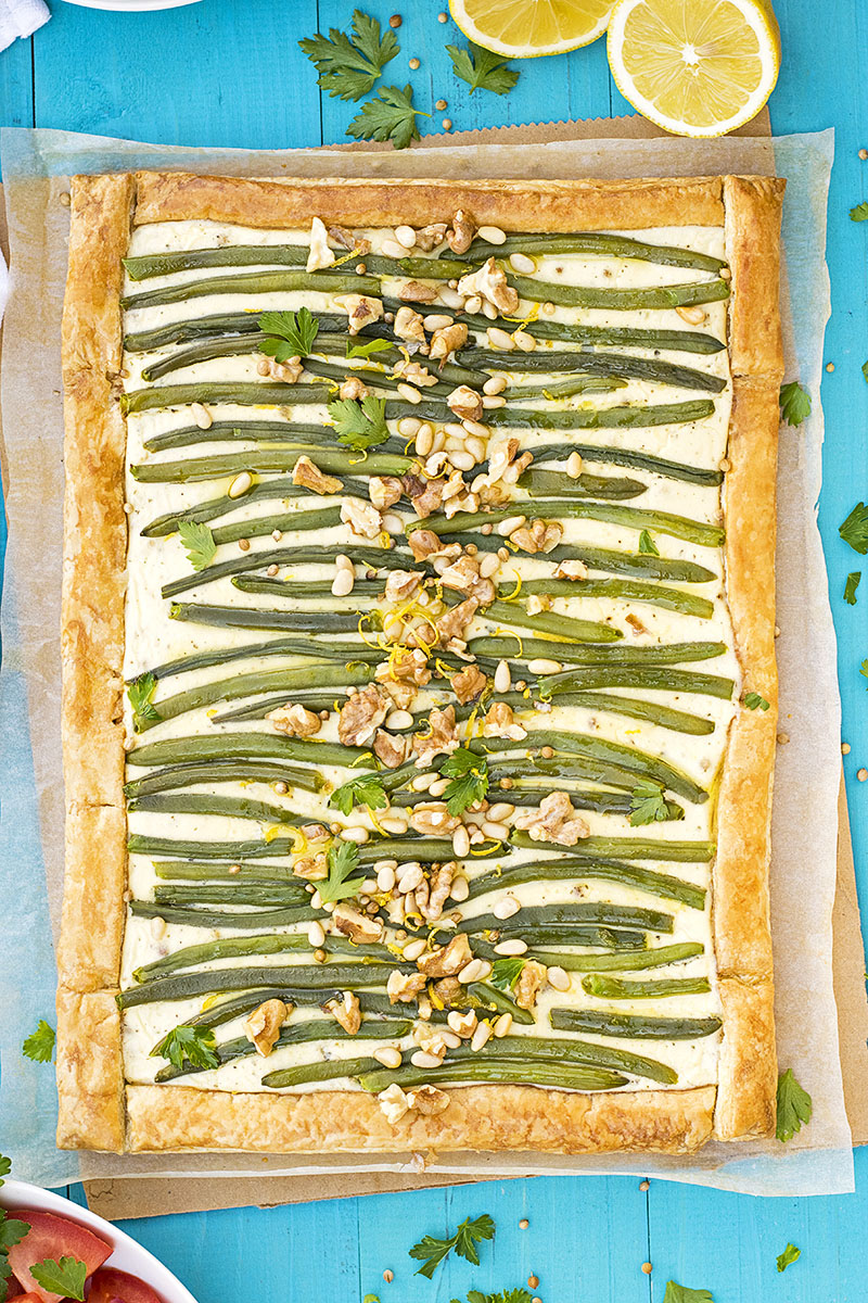 Green bean and feta mediterranean tart with puff pastry 5