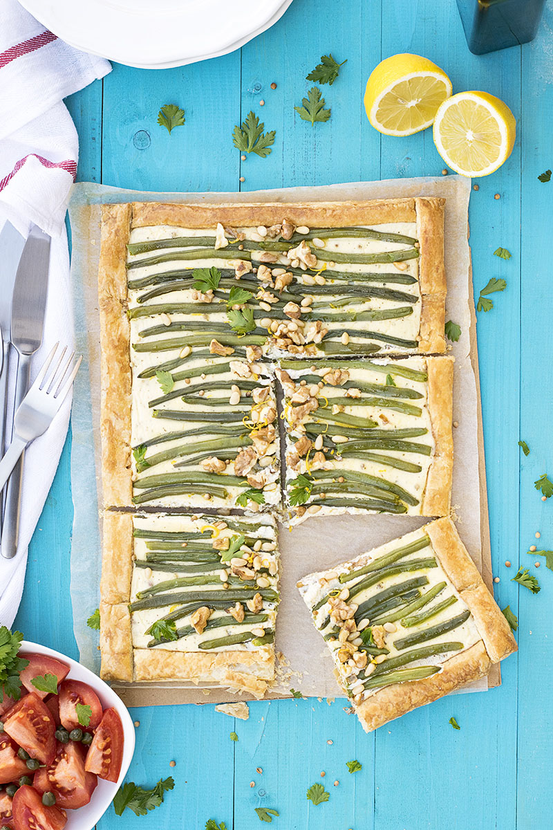 Green bean and feta mediterranean tart with puff pastry 6