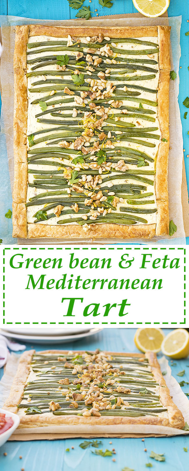 Green bean and feta mediterranean tart with puff pastry 7