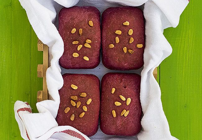 Beet, basil, and olive oil mini bread loaves f