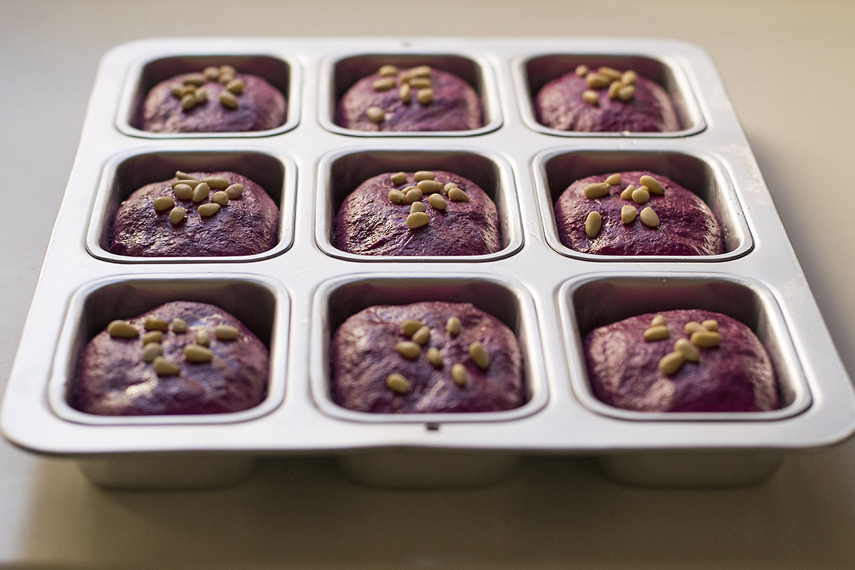 Beet, basil, and olive oil mini bread loaves 2