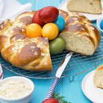 Greek Easter sweet bread with olive oil (Tsoureki) f