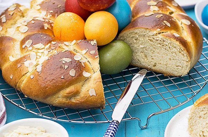 Greek Easter sweet bread with olive oil (Tsoureki) f