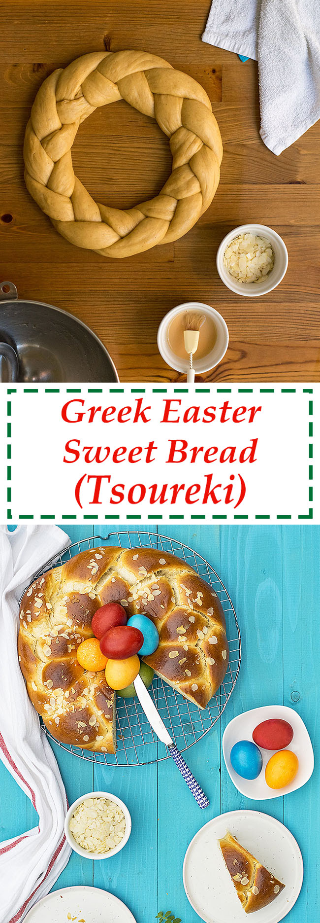 Greek Easter sweet bread with olive oil (Tsoureki) 7