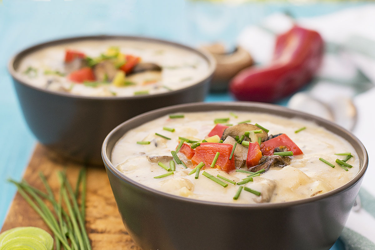 Mediterranean creamy potato and mushroom soup (Vegan) 3