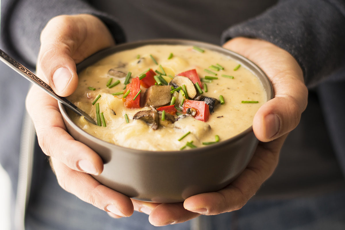 Mediterranean Creamy Potato And Mushroom Soup Vegan