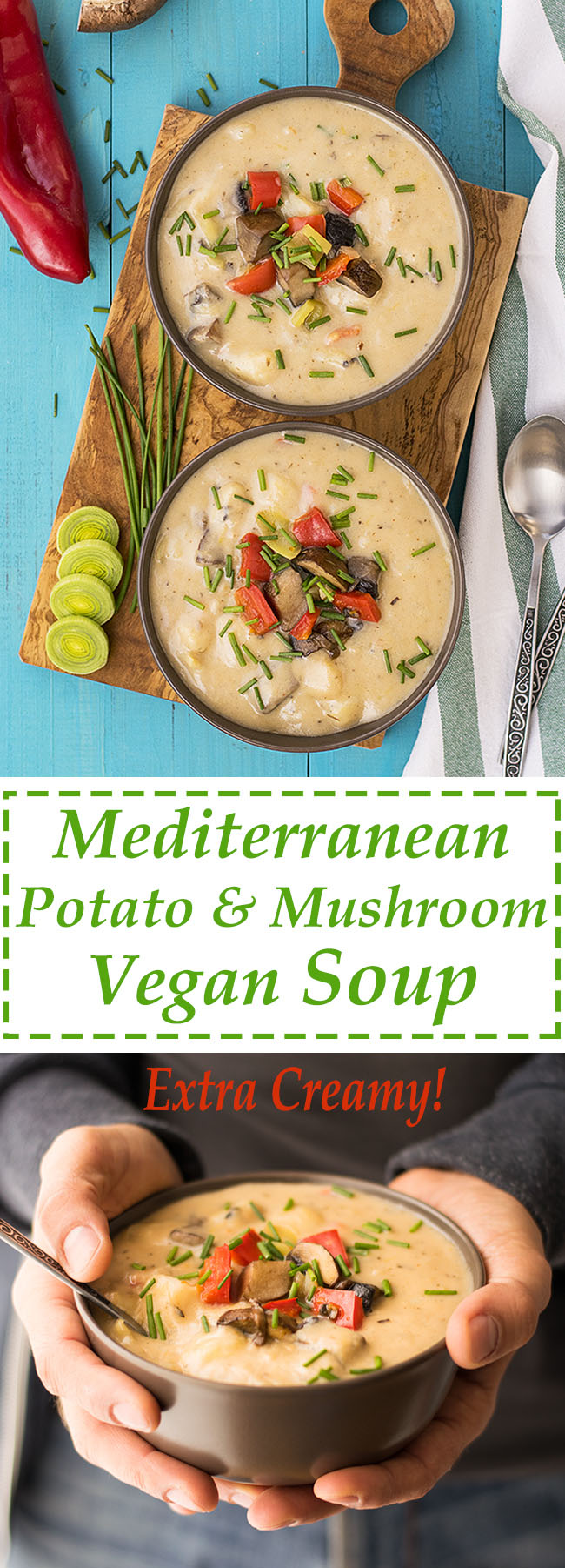 Mediterranean creamy potato and mushroom soup (Vegan) 6