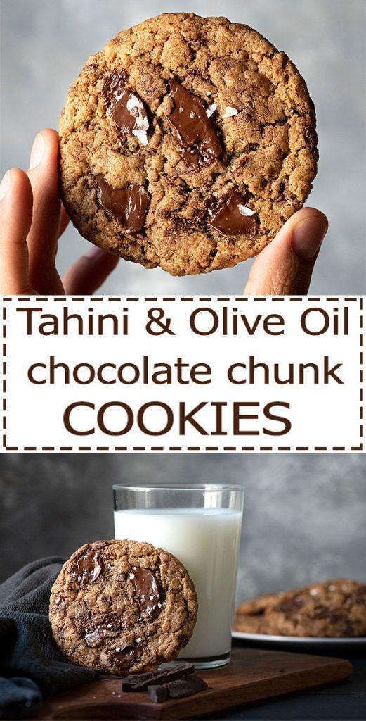 tahini and olive oil chocolate chunk cookies vegan 7