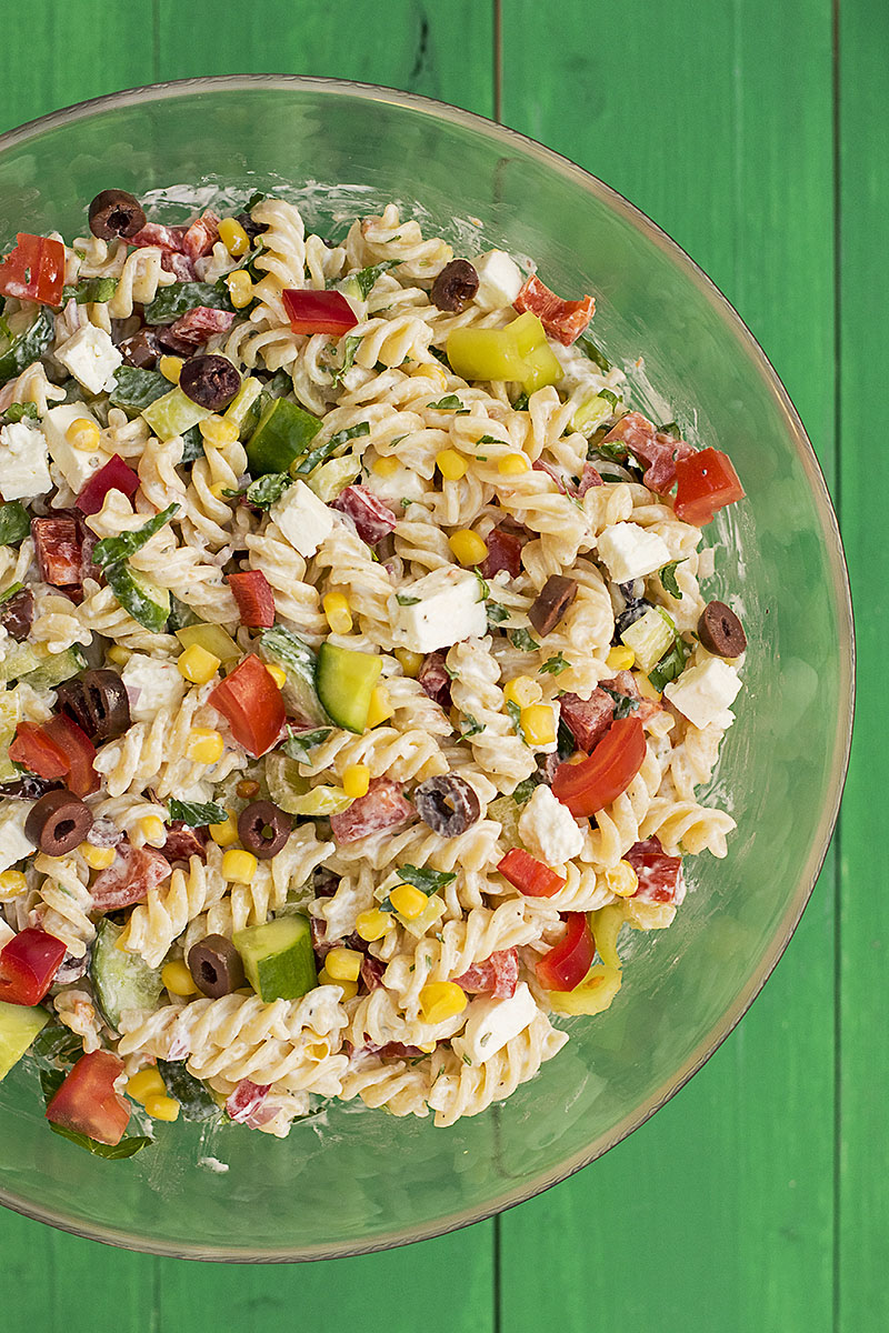Creamy Greek salad pasta recipe 2