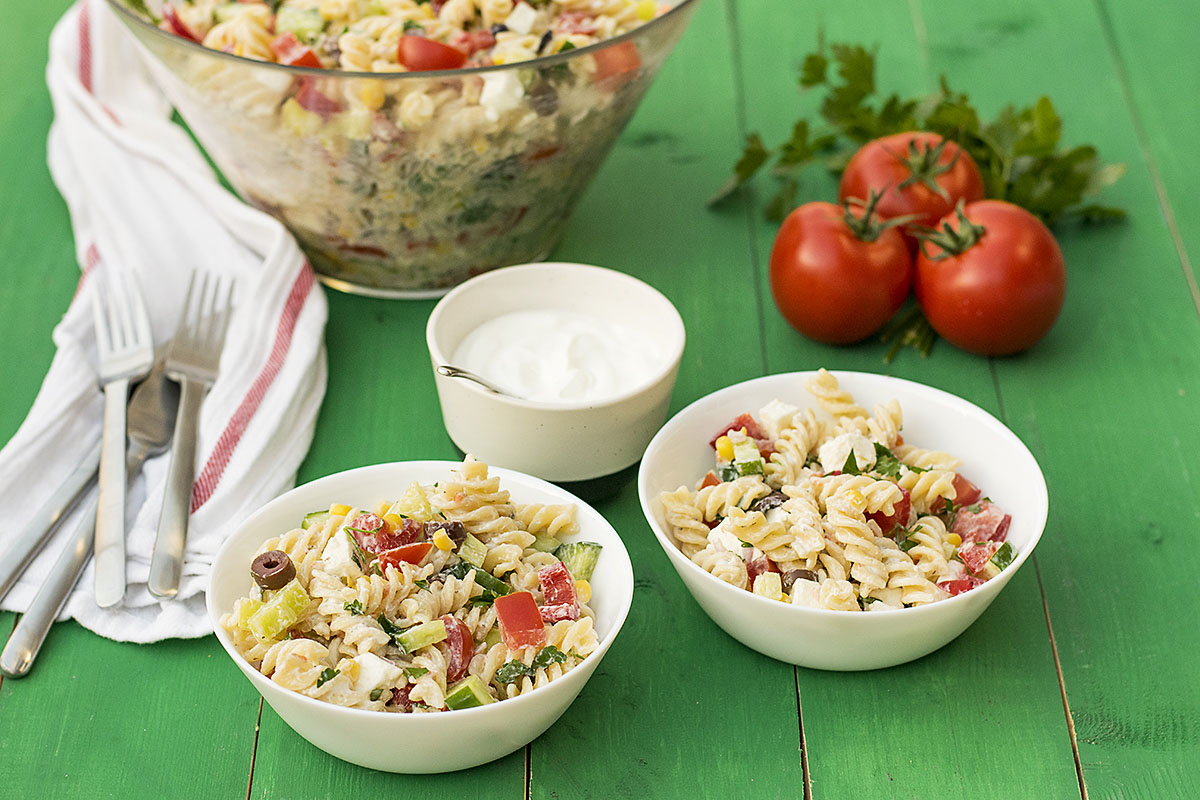 Creamy Greek salad pasta recipe 4