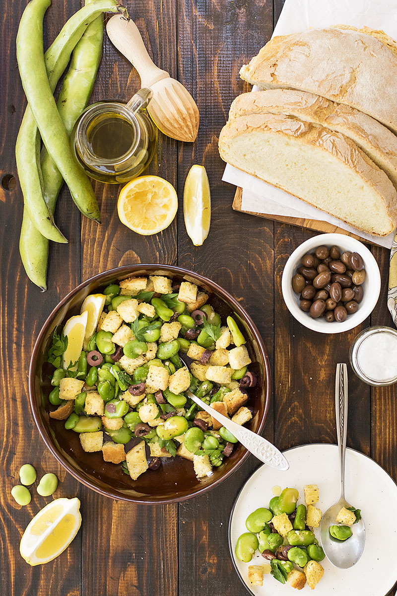 Fresh fava been salad and a fava spread – Vegan 2