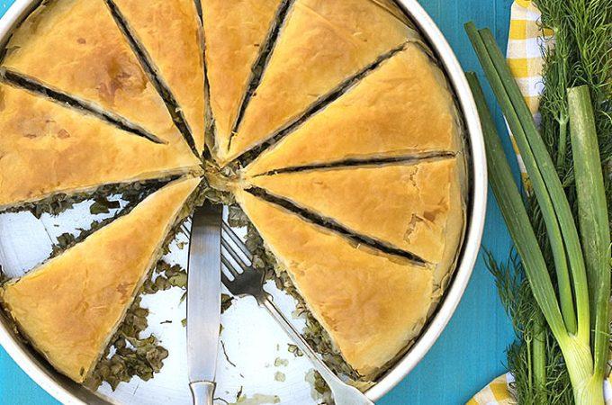 Mediterranean leek, fennel and barley pie (Vegan) featured