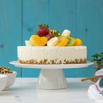 Greek yogurt, honey & white chocolate mousse cake
