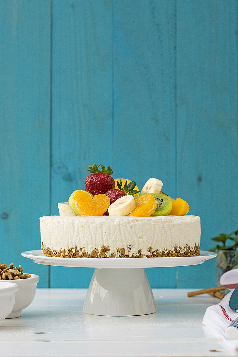 Greek yogurt, honey & white chocolate mousse cake 2