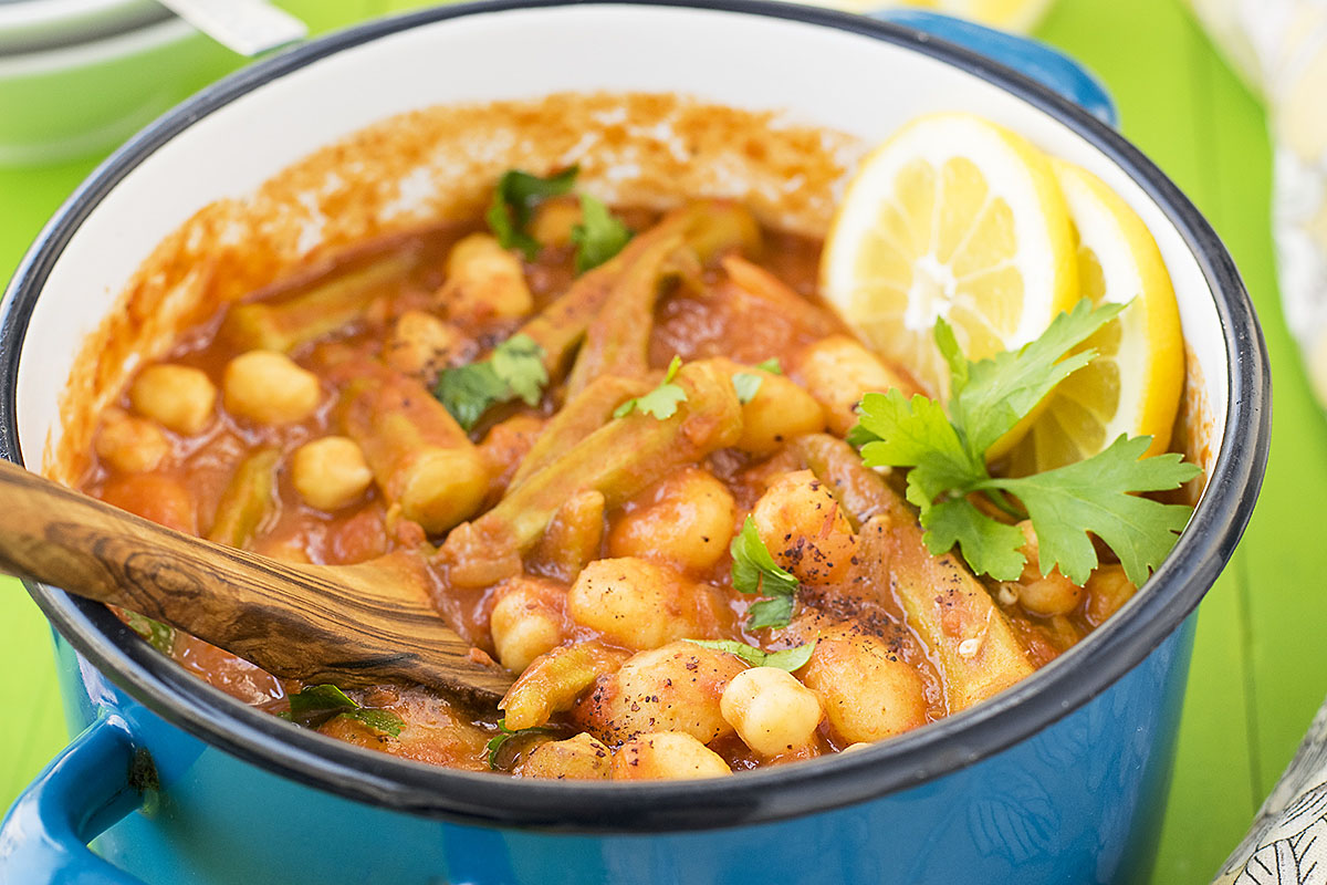 Greek gumbo with okra, gnocchi & chickpeas (vegan) 6