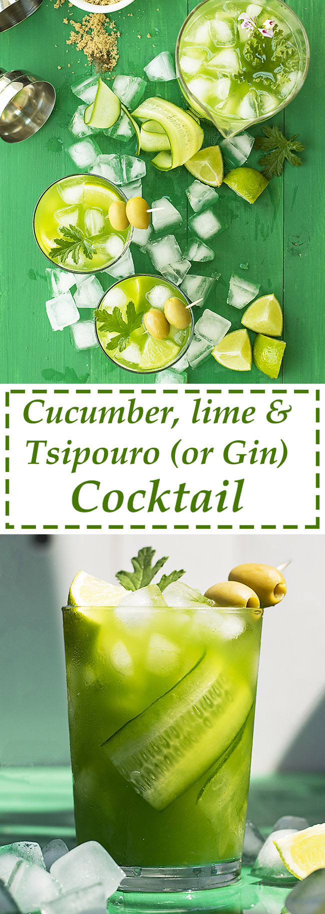 Cucumber, lime and tsipouro (or gin) cocktail 7