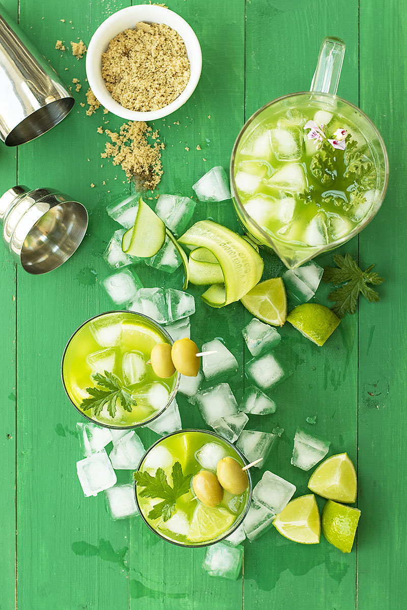 Cucumber, lime and tsipouro (or gin) cocktail