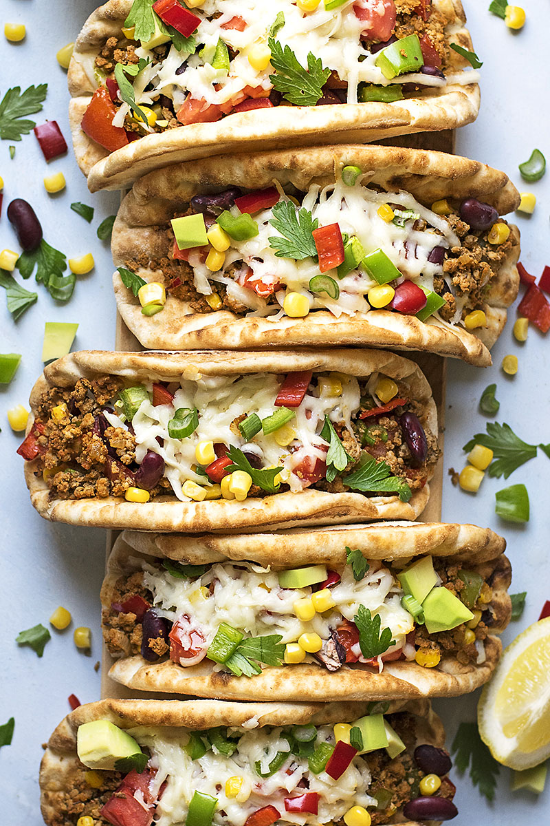 Pitacos – Pita bread tacos with minced beef and beans 2