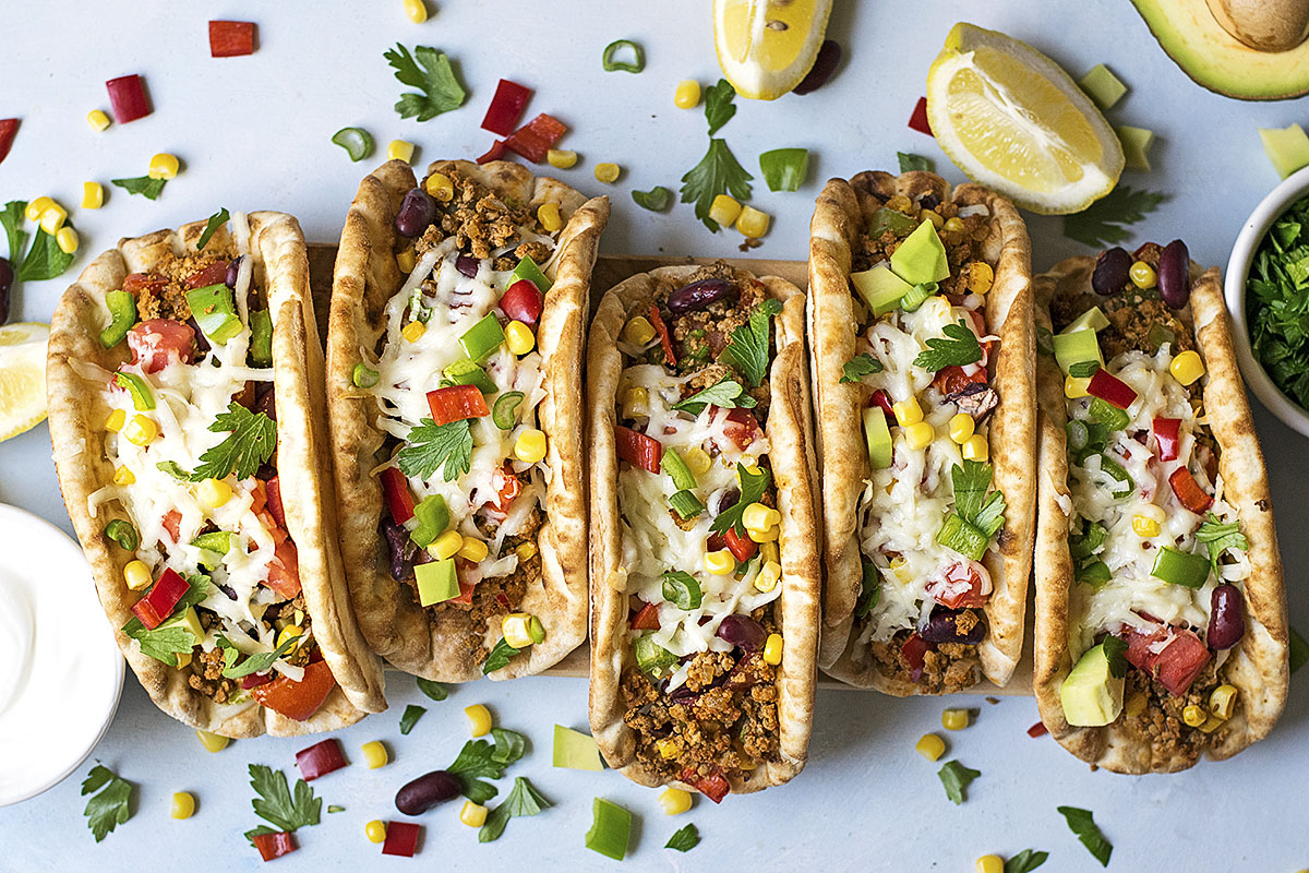 Pitacos Pita Bread Tacos With Minced Beef And Beans