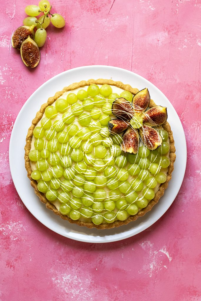 Sweet wine & grape tart with easy olive oil crust