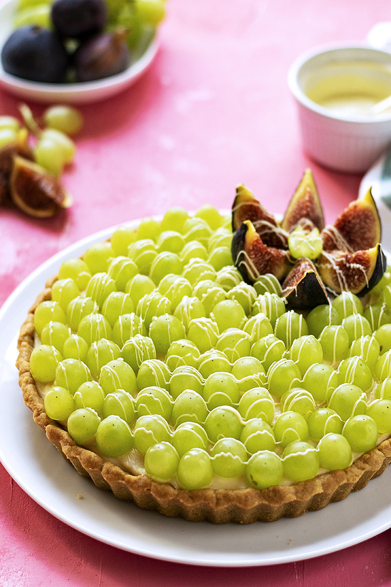 Sweet wine & grape fruit tart with easy olive oil crust 2