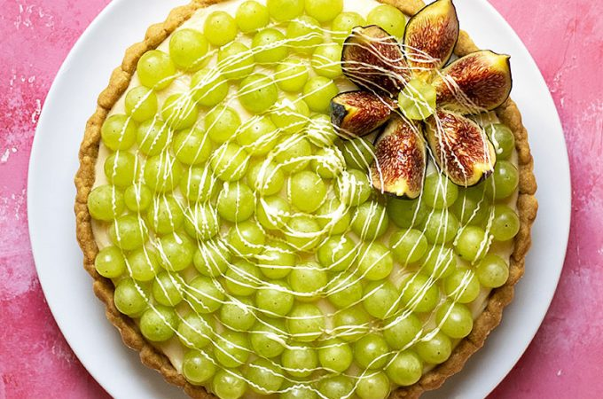 Sweet wine & grape tart with easy olive oil crust feat.