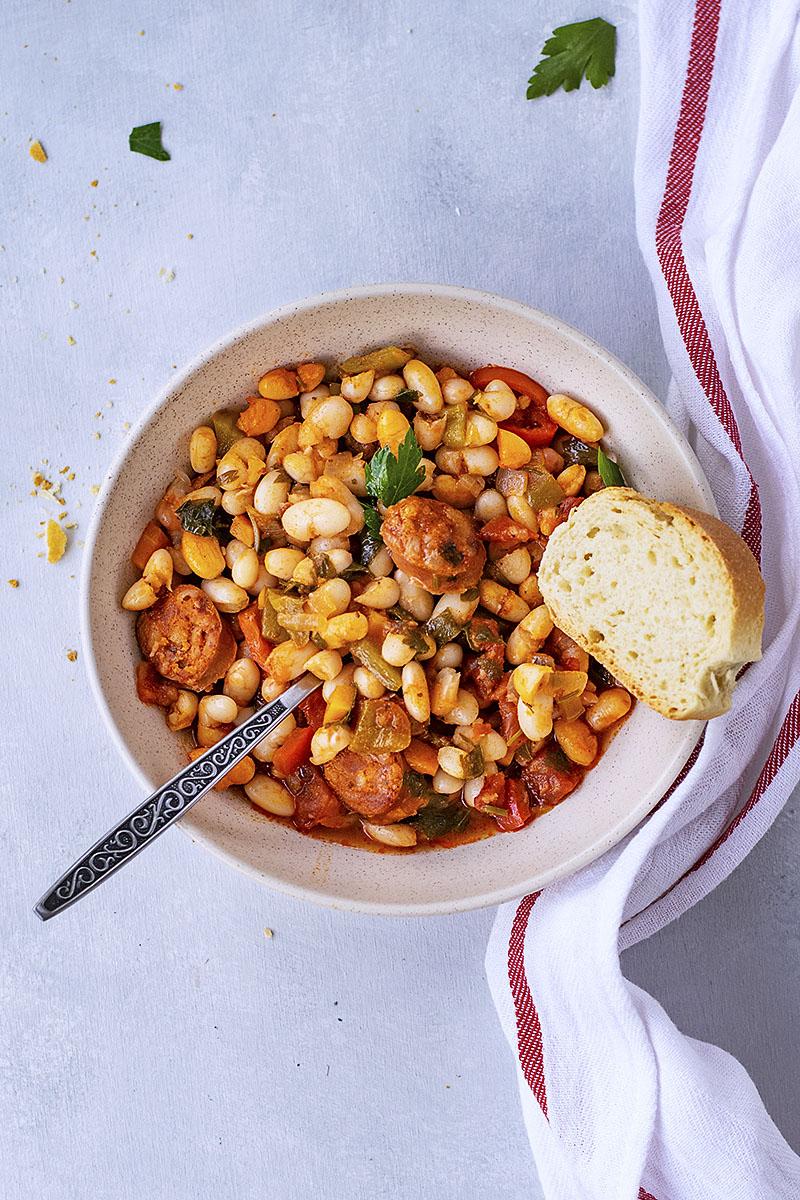 Spanish white bean stew with chorizo sausage 7