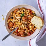 Spanish white bean stew with chorizo sausage f