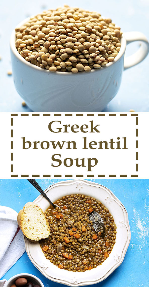 Easy Greek brown lentil soup (vegan) 6