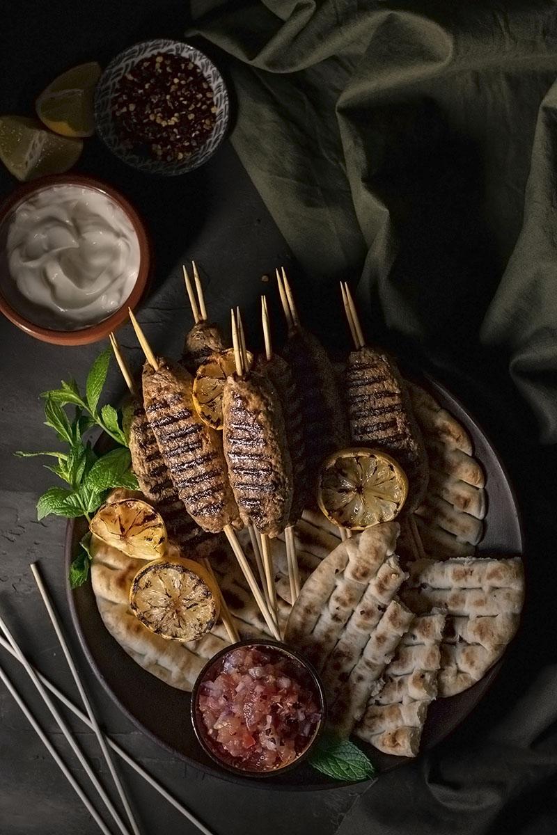 Minty Greek lamb kofta kebabs with yogurt & tomato sauce 3