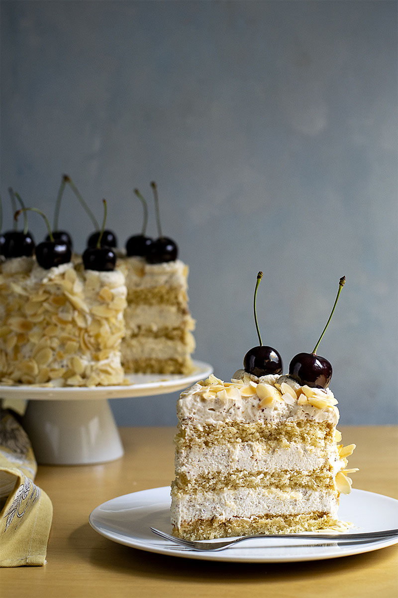 Roasted almond & white chocolate mousse cake (nougat torte) 6