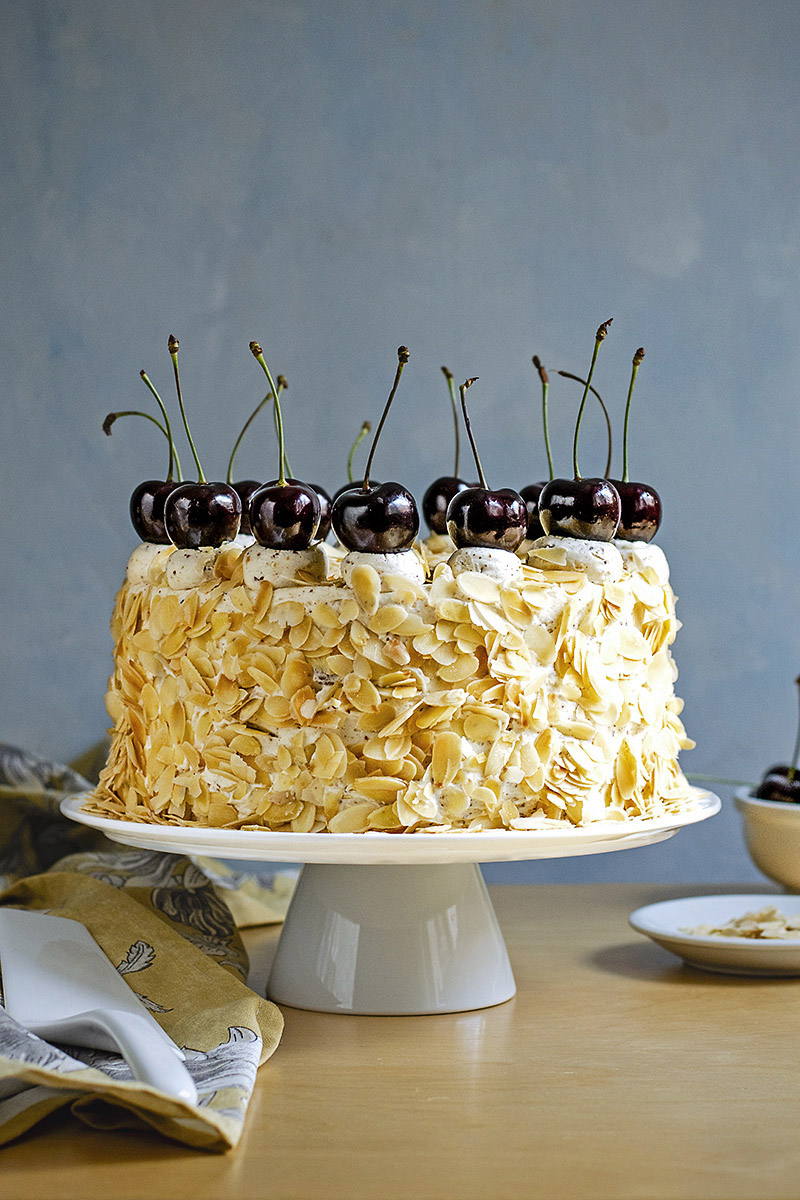 Roasted almond & white chocolate mousse cake (nougat torte)