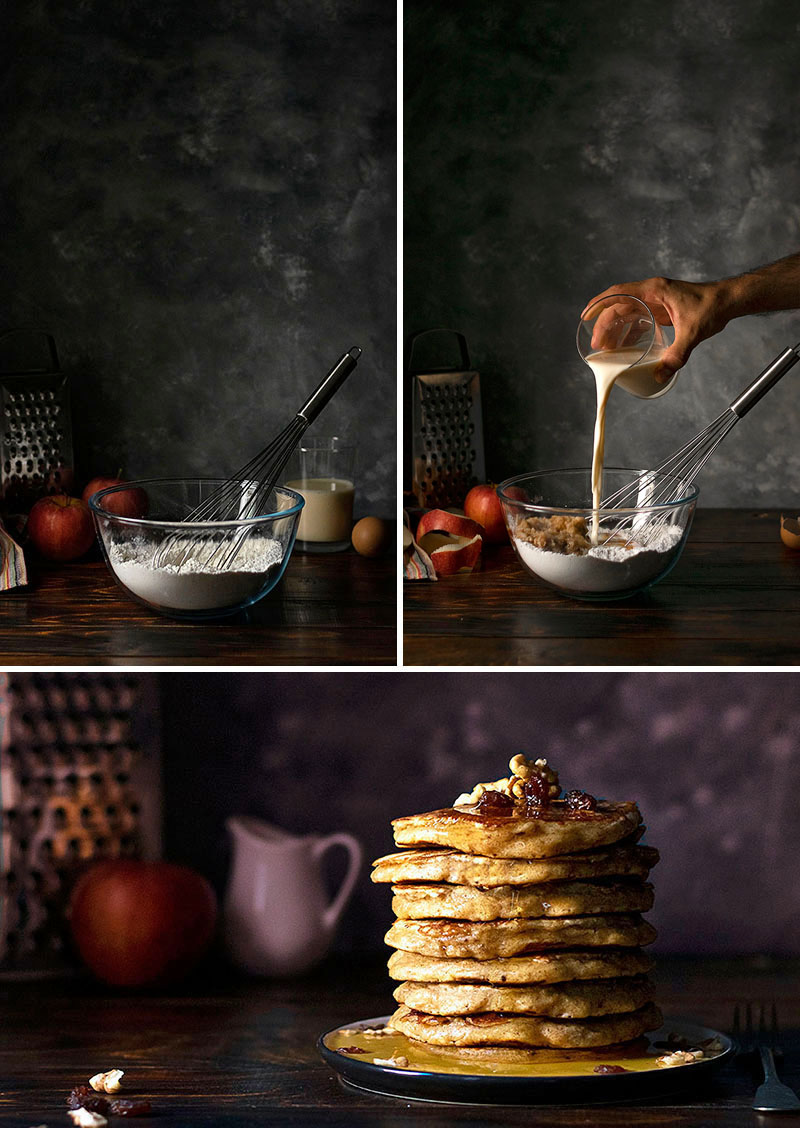 Best whole wheat, olive oil & grated apple pancakes