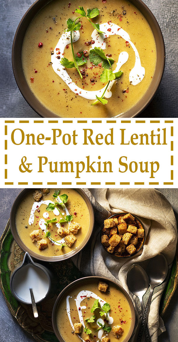 Easy red lentil and pumpkin velvet soup (Vegan) 6