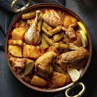 Greek Chicken Stew with Potatoes and Okra feat