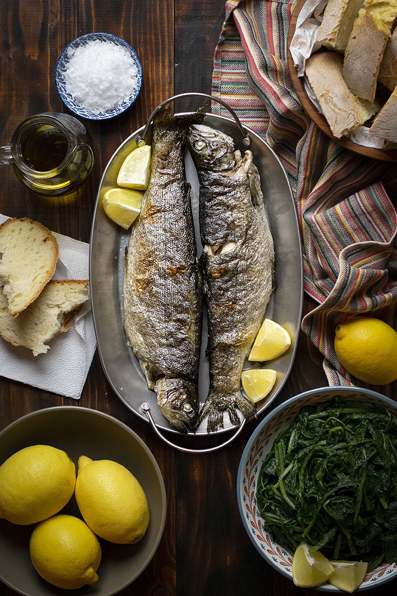 Simple broiled rainbow trout with dandelion greens 3