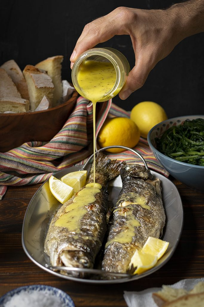 Simple broiled rainbow trout with dandelion greens 5