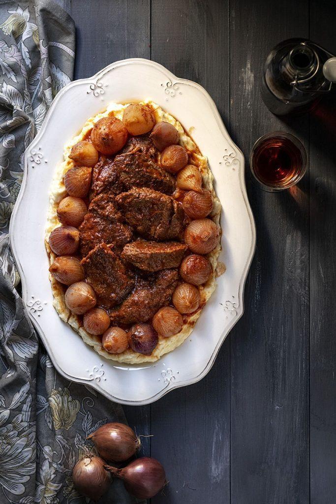 Greek beef stew with pearl onions (Stifado)