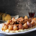 Greek beef stew with pearl onions (Stifado) feat.