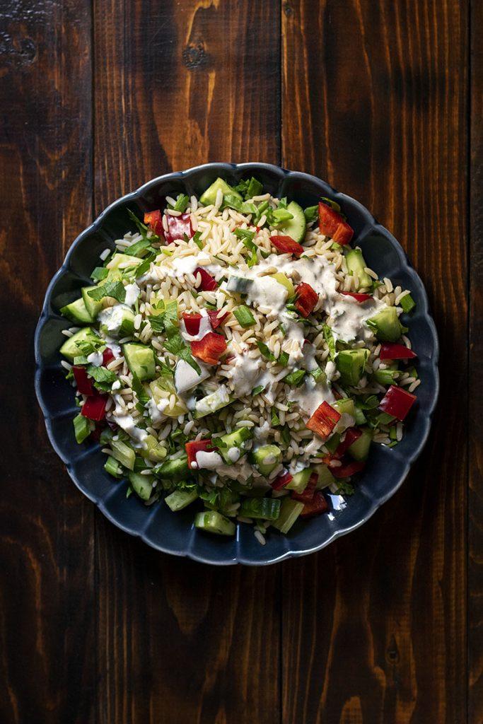 Healthy brown rice salad with lemon – tahini dressing 4