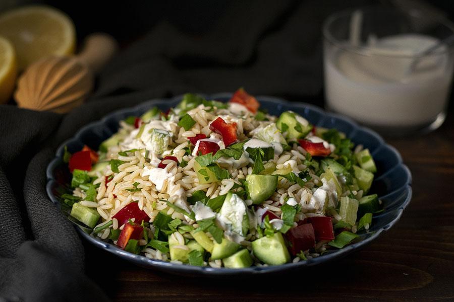 Healthy brown rice salad with lemon – tahini dressing 5