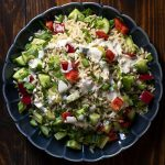 Healthy brown rice salad with lemon – tahini dressing feat