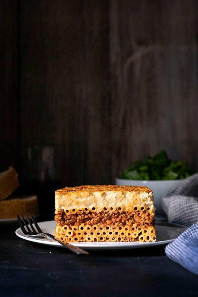 Pastitsio slice or greek pasta bake