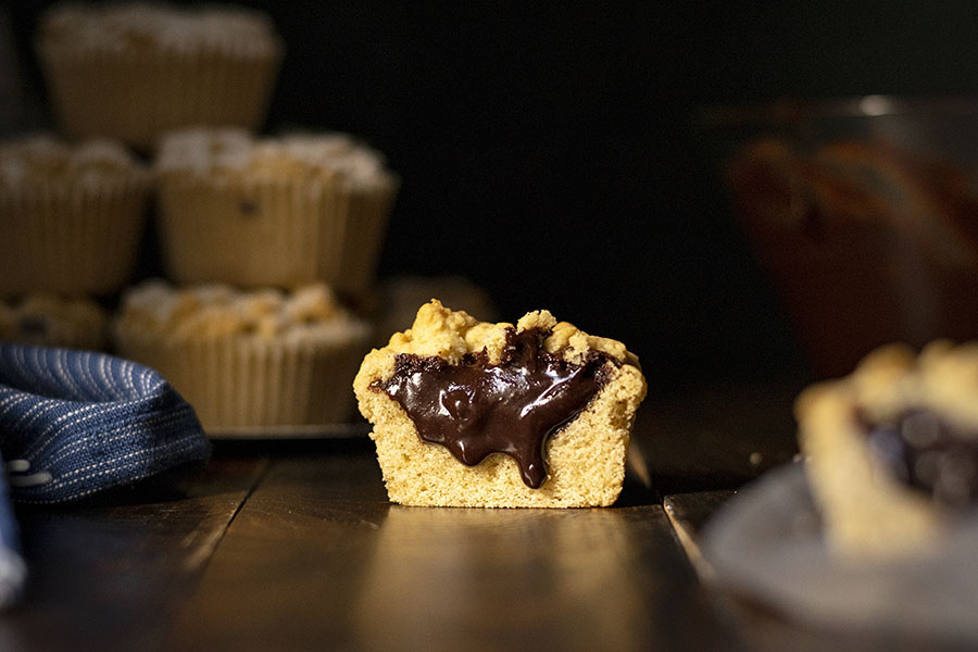 Tahini & Chocolate (or Nutella) stuffed crumble muffins 6