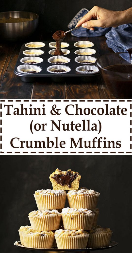 Tahini & Chocolate (or Nutella) stuffed crumble muffins 7