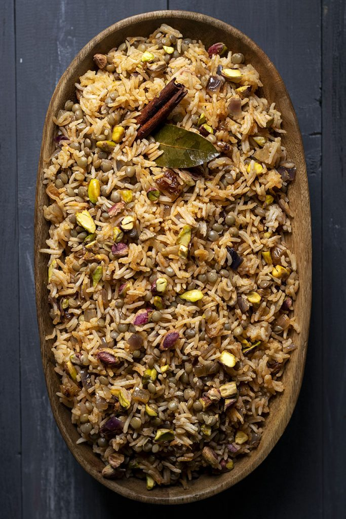 Lebanese Rice and Lentil Pilaf (Mujadara) - Vegan